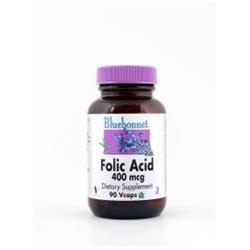 Bluebonnet Nutrition - Folic Acid 400 mcg. - 90 Vegetarian Capsules