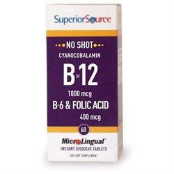 Superior Source - No Shot B12 Cyanocobalamin Instant Dissolve 1000 mcg. - 60 Tablets