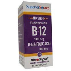 B12 1000 mcg (as Cyanocobalamin)/B6 2 mg/Folic Acid 800 mcg Superior Source 60 S