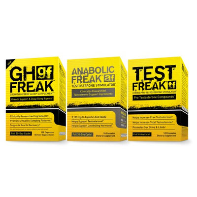 Saga Sciences (1)PharmaFreak Test Freak - Testosterone Stimulator (1) Anabolic Freak and (1) GH Freak - ULTIMATE BODYBUILDING STACK!