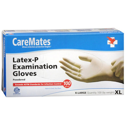 CareMates Disposable Medical Gloves Latex, X-Large 100 ea, CARE #204