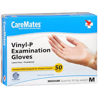 CareMates Vinyl Latex-Free Powdered Gloves, Medium, 50 ea, Care#902