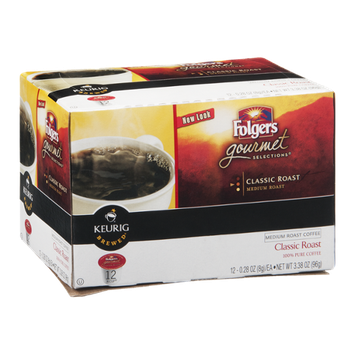 Folgers Gourmet Selections Keurig Brewed Medium Roast Coffee K-Cups Classic Roast - 12 CT