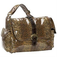 Kalencom 2960 Laminated Buckle Diaper Bag - Leopard - Chocolate