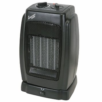 Comfort Zone CZ448 Black Compact Oscillating Ceramic Heater, 1 ea