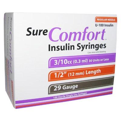 Allison Medical Sure Comfort Insulin Syringes 29 Gauge 3/10cc 1/2 in - 100 ea