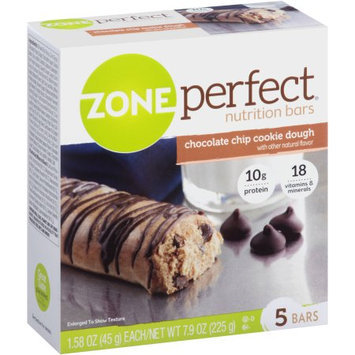 Abbott Nutrition ZonePerfect Chocolate Chip Cookie Dough Nutrition Bars, 1.76 oz, 5 count, (Pack of 6)