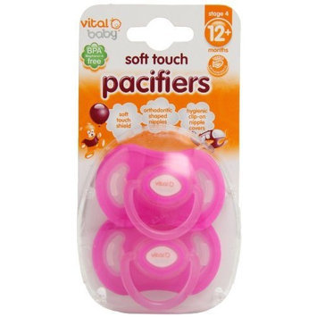 Vital Baby 2 Pack Soft Touch Pacifiers, Pink, 12+ Months