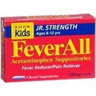 Alpharma FeverAll Acetaminophen Suppositories, Jr Strength Ages 6-12 Years 6 ea