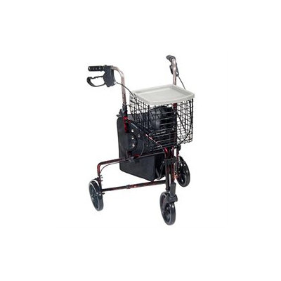 Drive Medical Walkers Three Wheel Rollator, Flame Red
