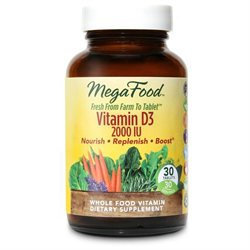 MegaFood Vitamin D-3 - 2000 IU - 30 Vegetarian Tablets