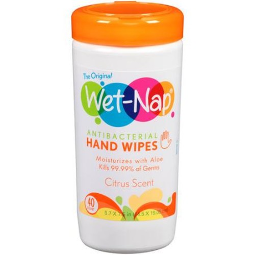 Wet-Nap Citrus Scent Antibacterial Hand Wipes, 40 sheets
