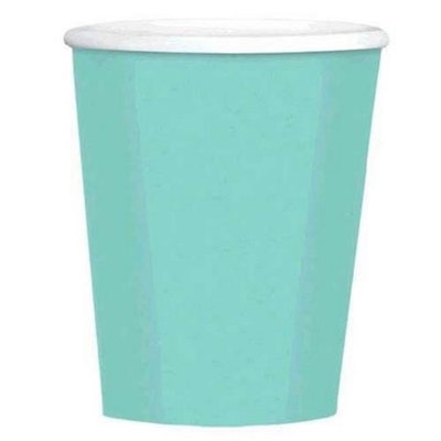 Amscan 689100.121 12 oz. Robins Egg Blue Paper Coffee Cups - Pack of 480