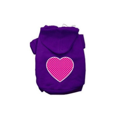 Mirage Pet Products Pink Swiss Dot Heart Screen Print Pet Hoodies Purple Size Sm (10)
