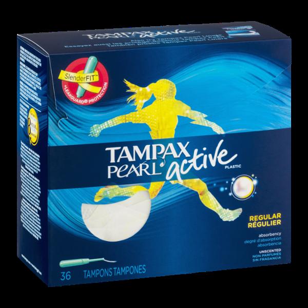 Tampax Pearl Active Plastic Tampons Regular - 36 CT