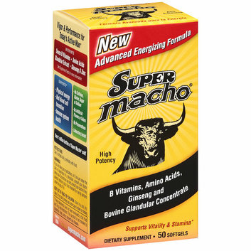Placeholder Super Macho: B Vitamins/Amino Acids/Ginseng & Bovine Glandular Concentrate Softgels Dietary Supplement