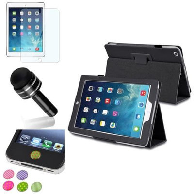 Insten INSTEN Black PU Leather Case Stand Cover+Protector/Pen/Sticker For Apple iPad Air 5 5th Gen