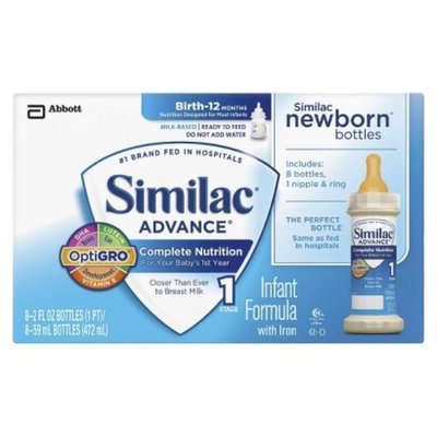 Similac Advance Ready To Feed Newborn Infant Formula Bottles, 2 Fl oz.