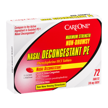 CareOne Nasal Decongestant PE Maximum Strength Non-Drowsy Tablets 10 mg - 72 CT
