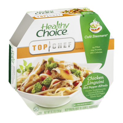 Healthy Choice Top Chef Inspired Cafe Steamers Chicken Linguini with Red Pepper Alfredo