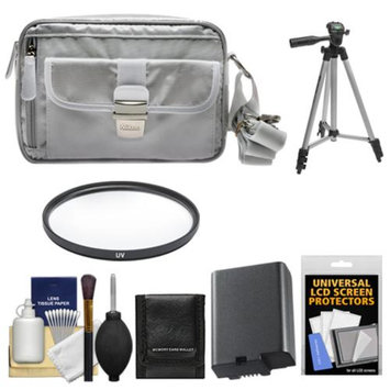 Nikon 1 Series Deluxe Digital Camera Case (Gray) with EN-EL21 Battery + UV Filter + Tripod + Accessory Kit for V2