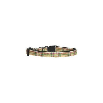 Ahi Plaid Nylon Collar Khaki Cat Safety