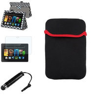 Insten INSTEN Black/White Dot Leather Case Stand Cover+Mini Stylus/Protector For Kindle Fire HDX 7