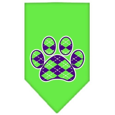 Mirage Pet Products 66-110 SMLG Argyle Paw Purple Screen Print Bandana Lime Green Small