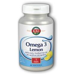 KAL Omega-3 W/Nat Lemon Flav 1070 MG - 60 Softgels - Omega 3 Fish Oil