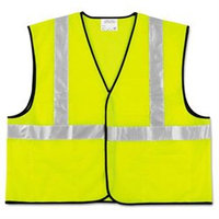 Crews VCL2SLXL2 Class 2 Safety Vest, Fluorescent Lime w/Silver Stripe, Polyester, 2X