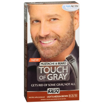 Just For Men Touch of Gray Mustache & Beard Hair Treatment, Light & Medium Brown B-25/35, Color, 1 ea