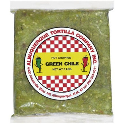 Albuquerque Tortilla Co. Inc. Hot Chopped Green Chile Peppers, 3 lb