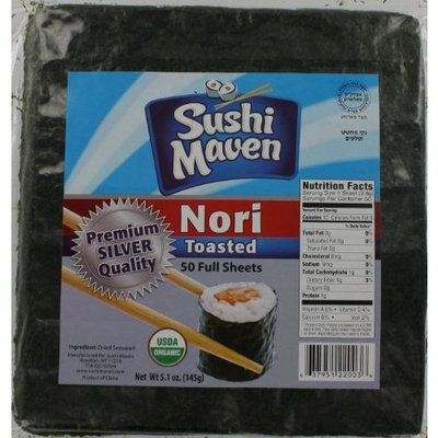Sushi Maven Premium Silver Quality Toasted Sushi Nori - 50 Full Sheets (1 Pack)
