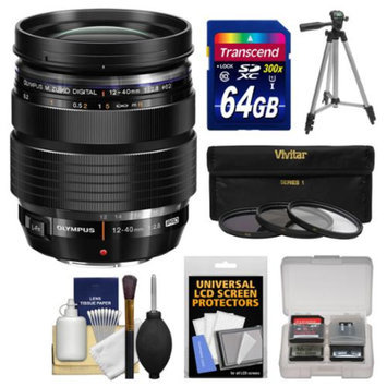 Olympus M.Zuiko 12-40mm f/2.8 PRO ED Digital Zoom Lens (Black) with 64GB Card + Tripod + 3 Filters + Kit for OM-D EM-5, EM-1, Pen E-P5, E-PL3, E-PL5, E-PM2 Cameras