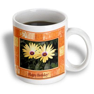 Recaro North 3dRose - Beverly Turner Birthday Design and Photography - Yellow Gerber Daisies, Happy Birthday - 11 oz mug
