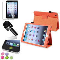Insten iPad Mini 3/2/1 Case, by INSTEN Orange Leather Case Stand Flip Cover+Protector/Pen for iPad Mini 3 2 1