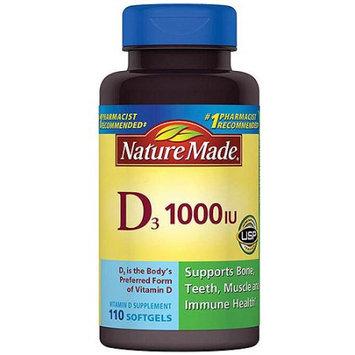 Pharmavite Llc Nature Made Vitamin D3 Dietary Supplement Softgels, 1000 I.U, 110 count