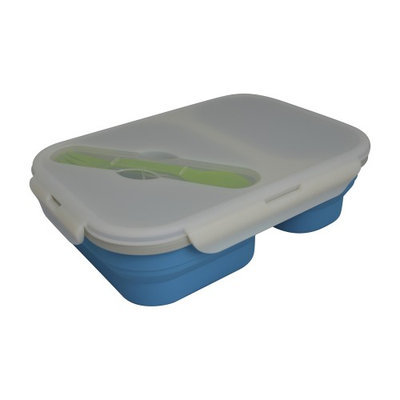 Eco Vessel Collapsible Silicone Double Compartment Lunchbox (BLUE)