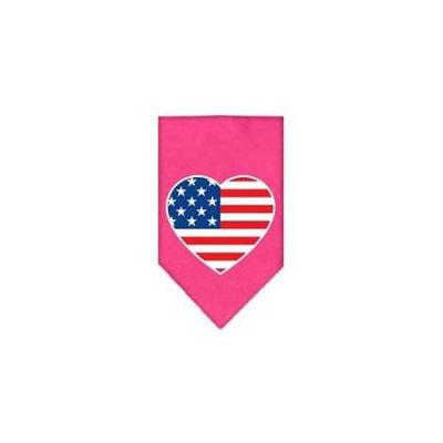 Ahi American Flag Heart Screen Print Bandana Bright Pink Small
