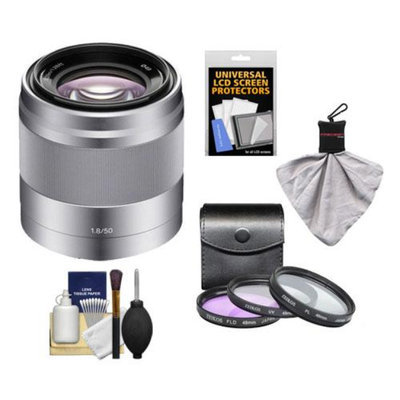 Sony Alpha NEX E-Mount 50mm f/1.8 OSS Lens (Silver) with 3 UV/FLD/PL Filters + Kit for A7, A7R, A7S, A3000, A5000, A5100, A6000 Cameras