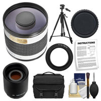 Rokinon 500mm f/6.3 Multi-Coated Mirror Lens with 2x Teleconverter (=1000mm) + Tripod + Case + Accessory Kit for Panasonic / Olympus E-5, E-30, Evolt E-420, E-520, E-620 Digital SLR Cameras