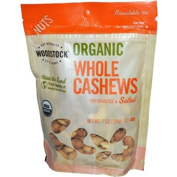 Woodstock Organic Whole Cashews, Dry Roasted & Salted, 7 oz (198 g)