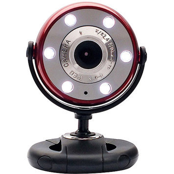 Gear Head Quick 1.3MP Webcam with Night Vision, Red/Black