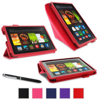 roocase Amazon Kindle Fire HDX 7 - Origami Stand Tablet 7-Inch 7 Cover with Landscape, Portrait, Typing Stand, Stylus - RED (With Auto Wake / Sleep Cover)