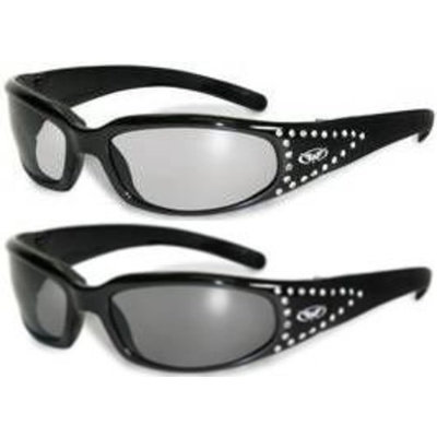 Global Industrial Set of 2 Women Motorcycle Padded Sunglasses Glasses Clear and Smoked Rhinestones With Vented EVA Foam Padding UV400 Filter for Maximum UV Protection