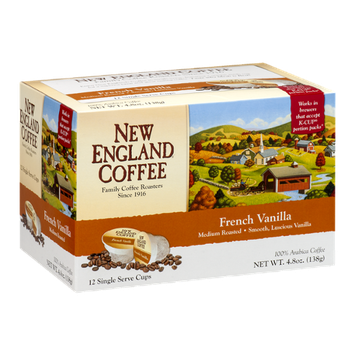 New England Coffee French Vanilla Medium Roasted Single Serve Cups - 12 CT