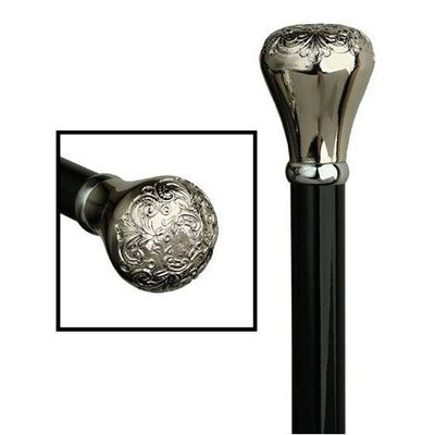 King Of Canes Men Embossed Knob Cane High Gloss Black Shaf T, Chrome Plated Acrylic Handle -Affordable Gift! Item #DHAR-9138900