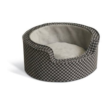K H Manufacturing K&H 30-Inch Round Self-Warming Comfy Sleeper, Large, Gray/Black Squares