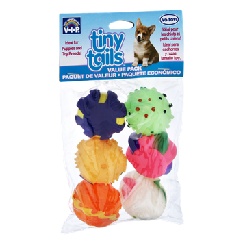 Vo-Toys Tiny Tails Squeaky Dog Toys- 6 CT
