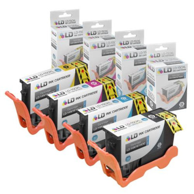 LD Compatible Lexmark 150XL Set of 4 High Yield Inkjet Cartridges: 1 Black 14N1614, 1 Cyan 14N1615, 1 Magenta 14N1616 and 1 Yellow 14N1618 for Lexmark Pro715, Pro915, S315, S415 & S515 Printers